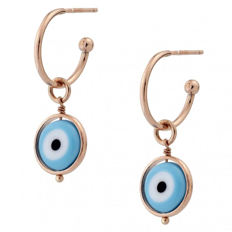 Sterling silver 925°. Half hoop earrings with mati