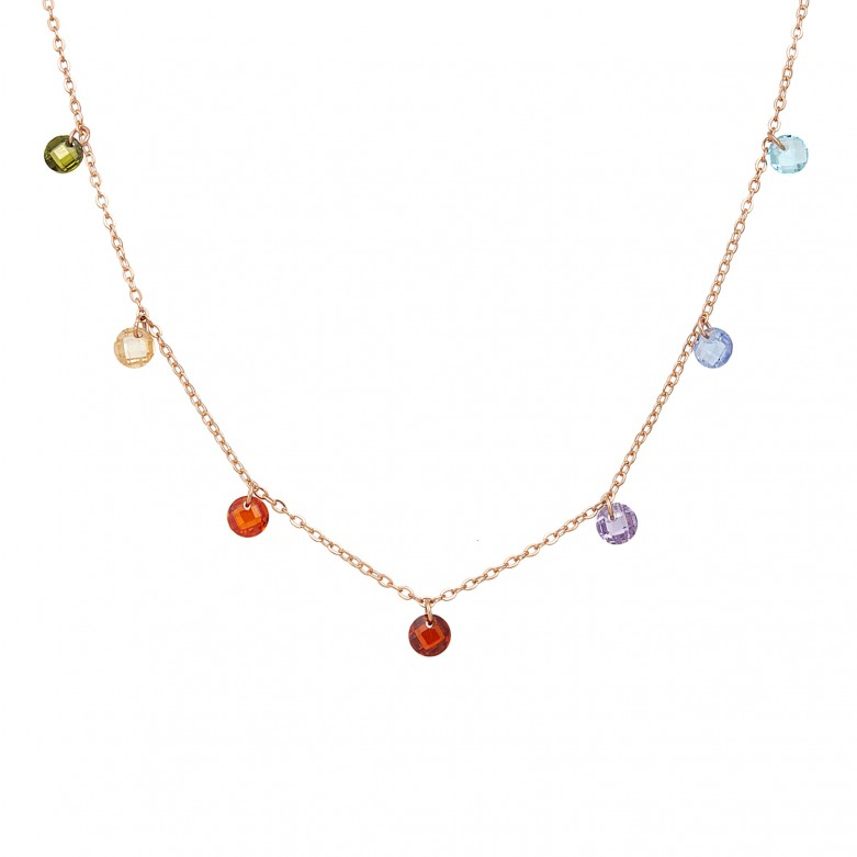 Sterling silver 925°. Multicoloured crystals station necklace