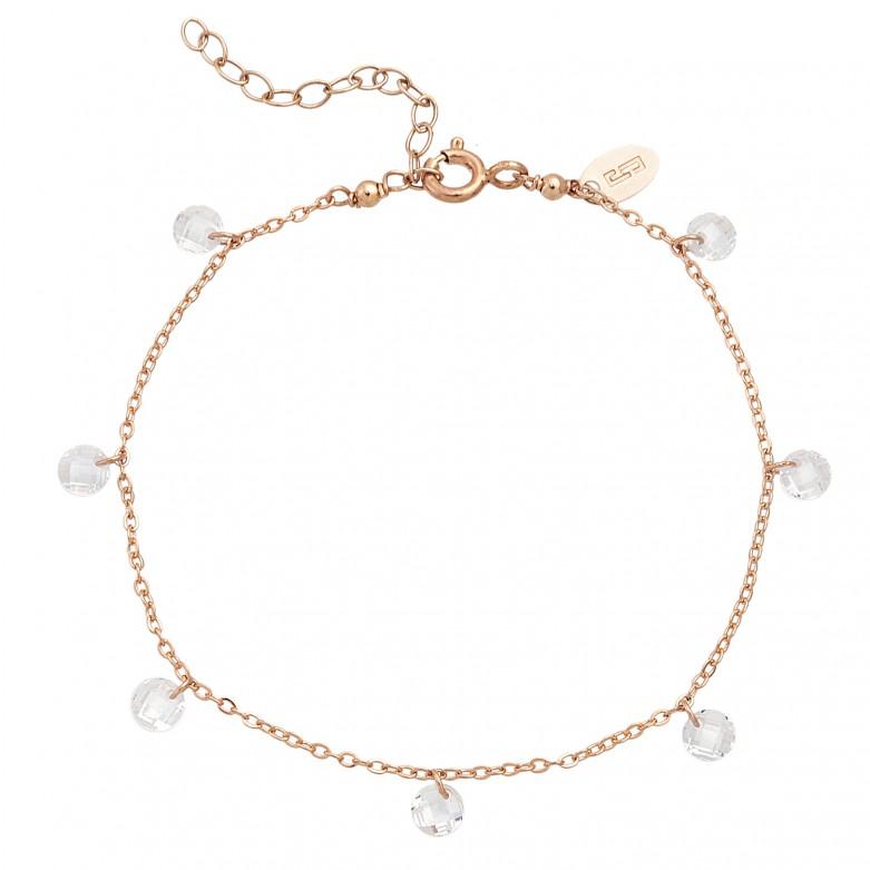 Sterling silver 925°. White crystals station bracelet