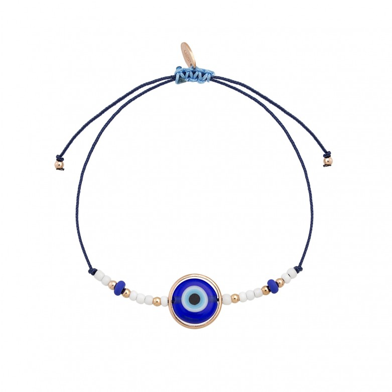 Sterling silver 925°. Mati and bead cord bracelet