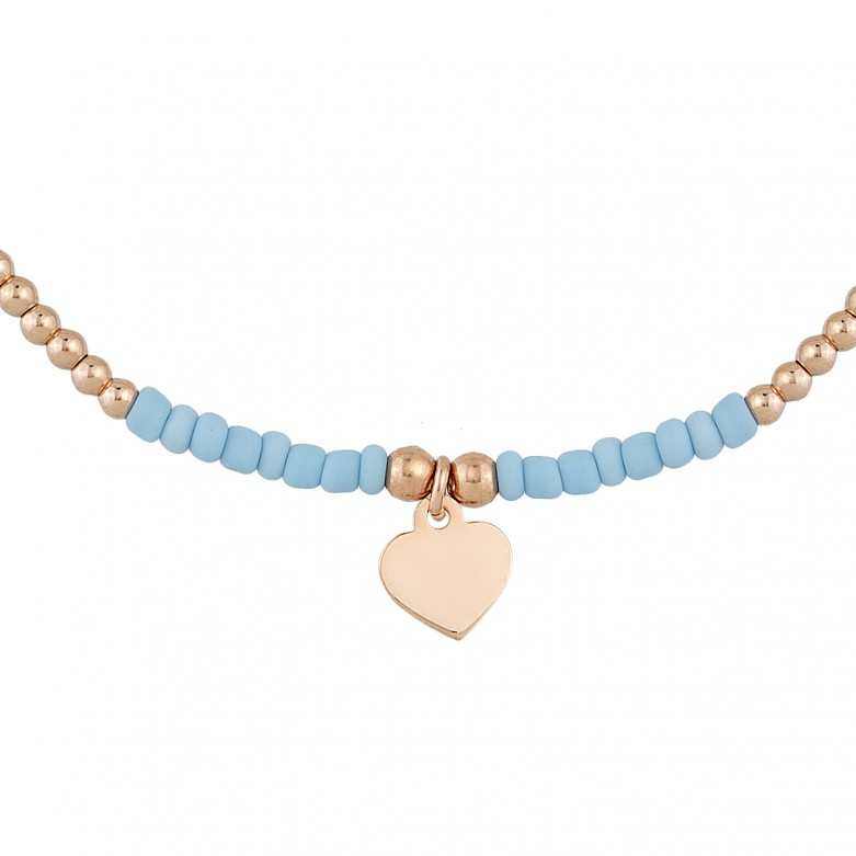 Sterling silver 925°. Bead and heart bracelet