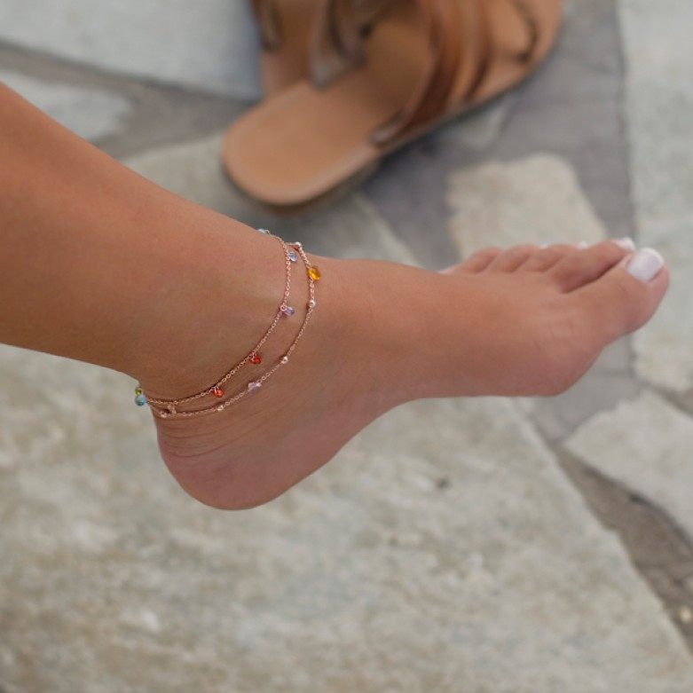 Sterling silver 925°. Ankle bracelet with crystals