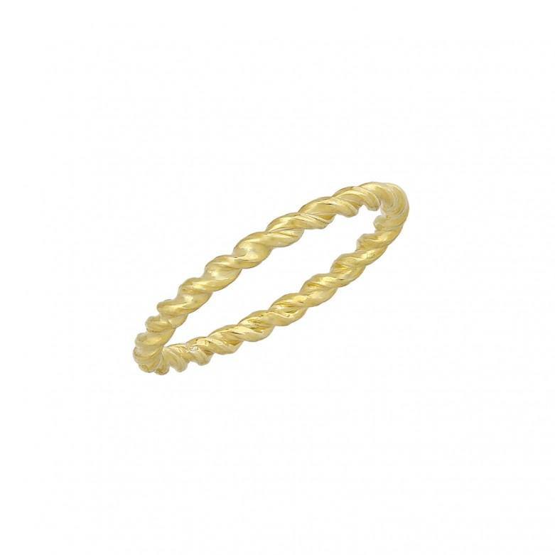 Δαχτυλίδι βέρα στριφτή από επιχρυσωμένο ασήμι 925.