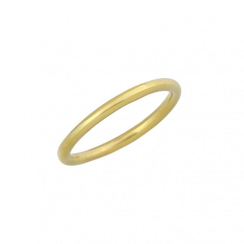 Δαχτυλίδι βέρα απλή από επιχρυσωμένο ασήμι 925.