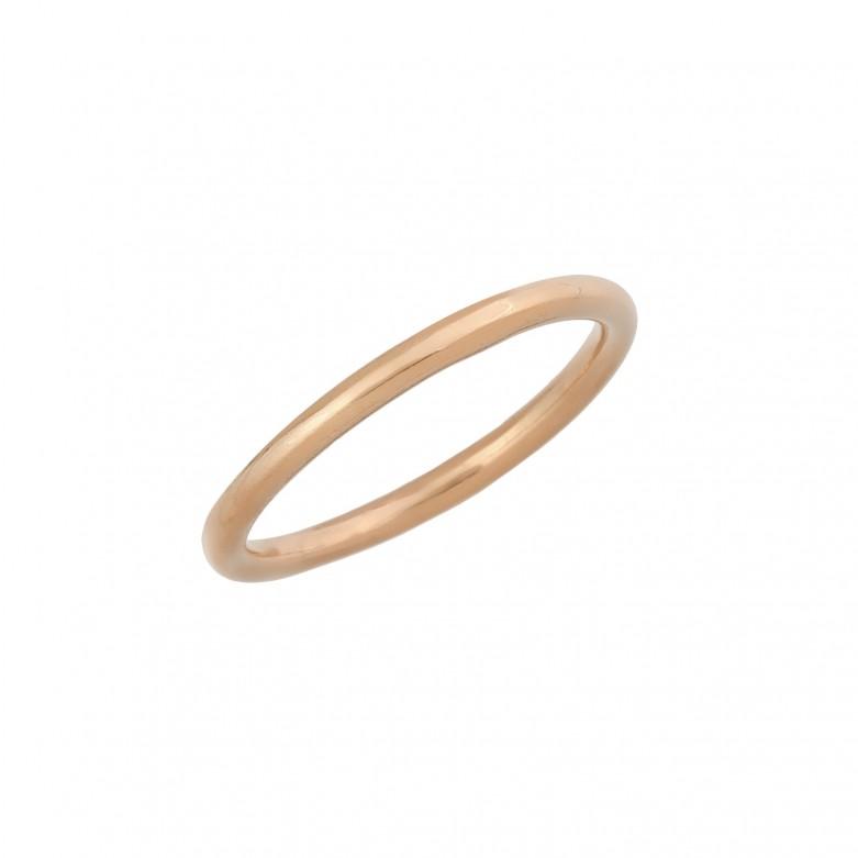 Δαχτυλίδι βέρα απλή από ροζ επιχρυσωμένο ασήμι 925.