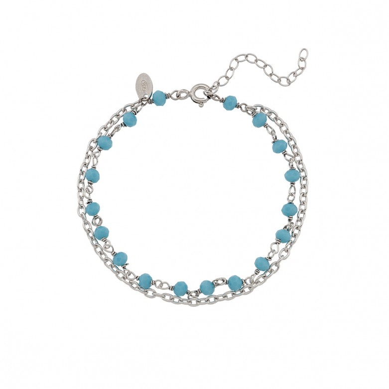 Sterling silver 925°. Double bracelet with chains & beads