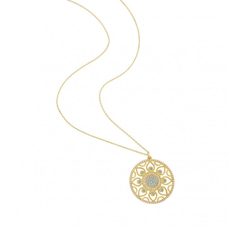 Sterling silver 925°. Round flower Mandala pendant