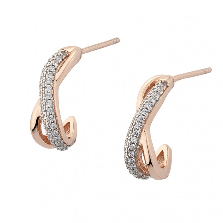 Sterling silver 925°. Infinty earrings with CZ