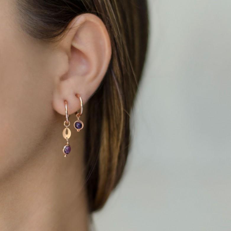 Sterling silver 925°. Hoop and amethyst stone earrings