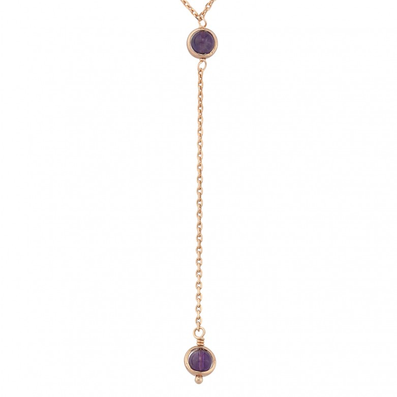 Sterling silver 925°. Amethyst Y-necklace