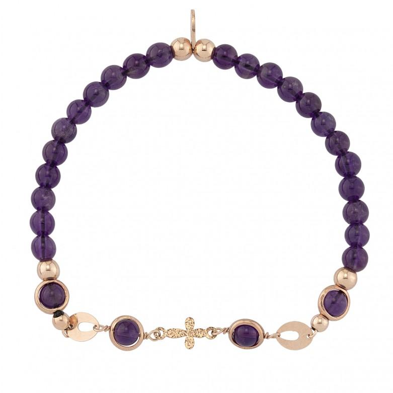 Sterling silver 925°. Easy- fit amethyst bracelet
