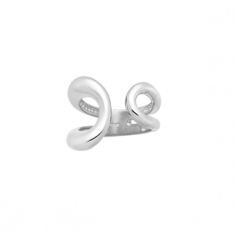 Δαχτυλίδι ανοιχτό με οβαλ σχέδιο από επιπλατινωμένο ασήμι 925.
