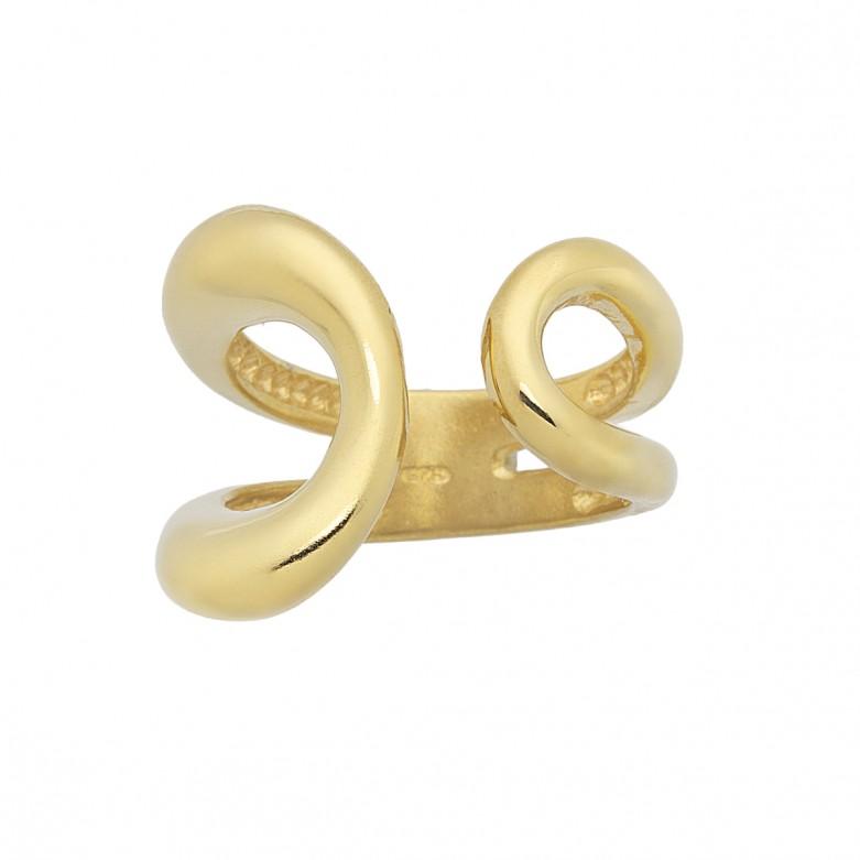 Δαχτυλίδι ανοιχτό με οβαλ σχέδιο από επιχρυσωμένο ασήμι 925.