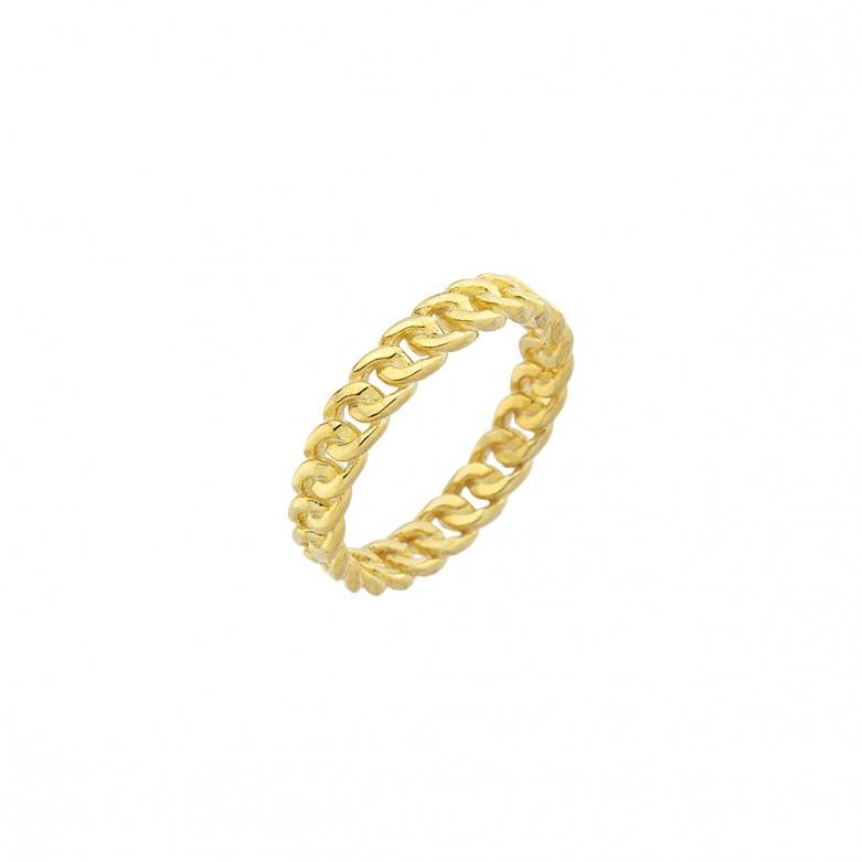 Δαχτυλίδι με gourmet links στενό από επιχρυσωμένο ασήμι 925.