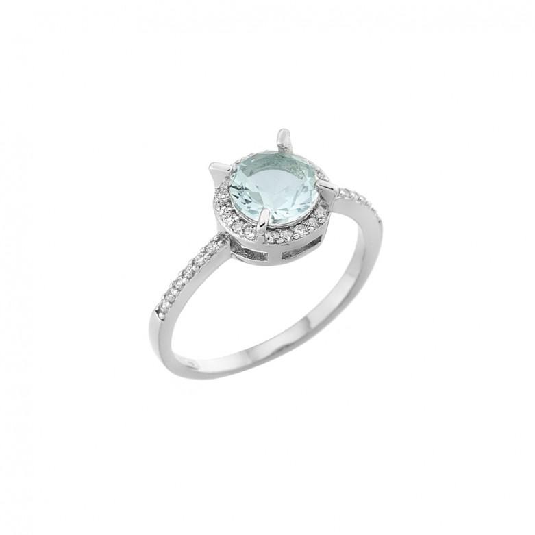 Δαχτυλίδι σχέδιο ροζέτα γαλάζιο ζιργκόν από επιπλατινωμένο ασήμι 925.