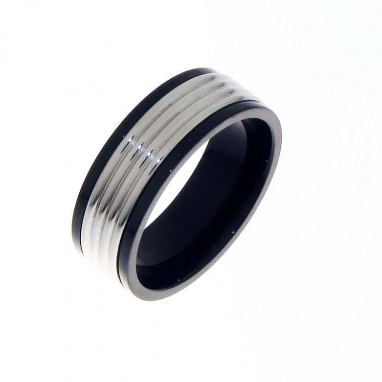 Stainless steel ring with black stripes