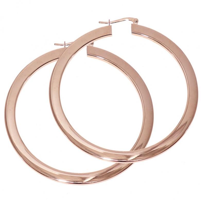 Σκουλαρίκια κρίκοι μεγάλοι πλακέ από ροζ επιχρυσωμένο ασήμι 925°