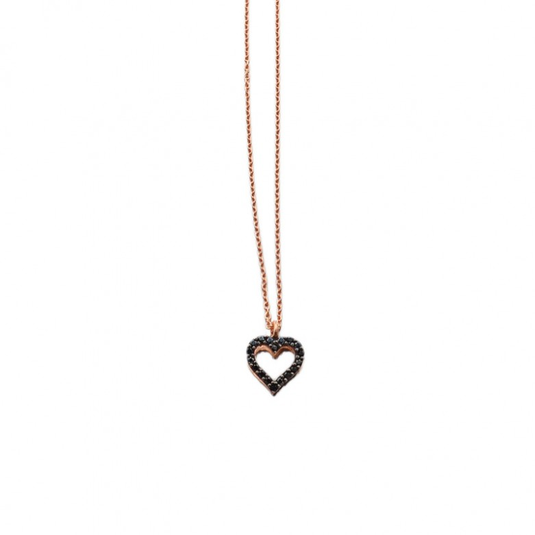 9kt Gold. Open heart with black CZ