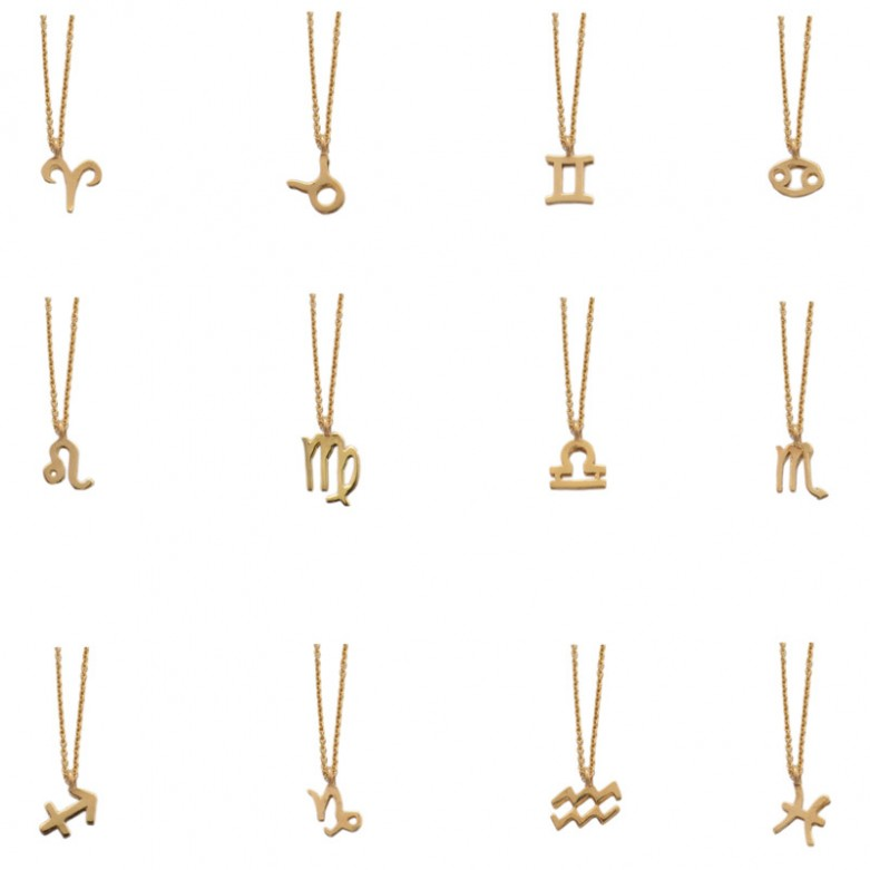 9kt Gold. Zodiac necklace