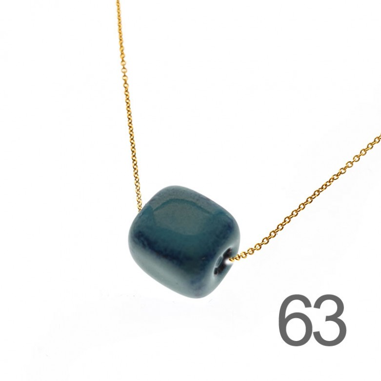 Sterling silver 925°. Ceramic bead on chain necklace
